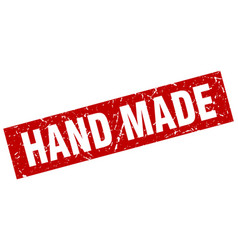 Square grunge red hand made stamp vector