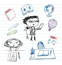 Study and education doodle set vector image vector image