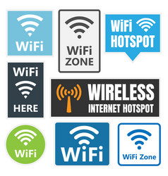 wireless signs set wifi icons vector image vector image