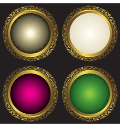 Collection vintage round frames with rays vector