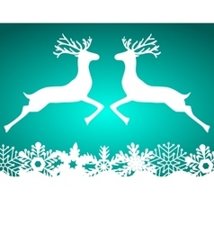 Two reindeer jump to each other on a blue vector