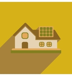 Flat web icon with long shadow eco-house vector