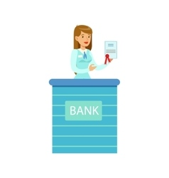Woman bank employee with official paper bank vector