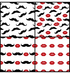 Lips and mustaches seamless patterns set vector image