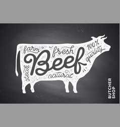 Poster with red cow silhouette lettering vector