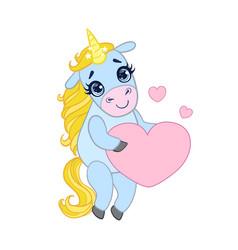 cartoon light blue unicorn standing and holding vector image