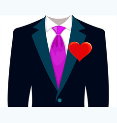 Bridegroom in a wedding suit with red heart vector