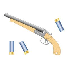 Short handgun with patron vector