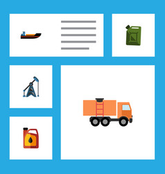 Flat icon oil set of boat rig jerrycan and other vector