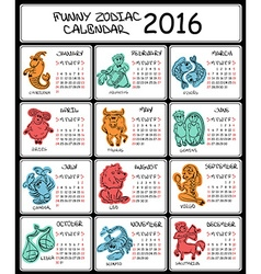 2016 Calendar Template with Zodiac Signs vector image