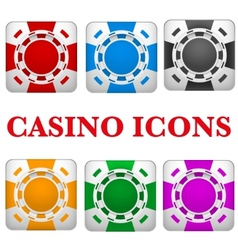 Set of square icons multicolor casino chips vector