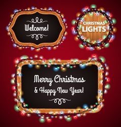 Christmas lights frames set4 vector