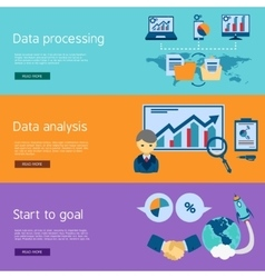 Data analysis flat banners set vector