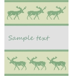 Knitted deer background vector image