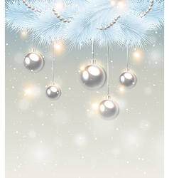White pine branch and decorations vector