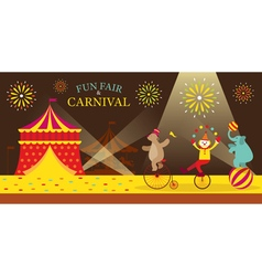 Circus tent with clown show vector