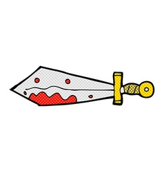 Comic cartoon bloody sword vector