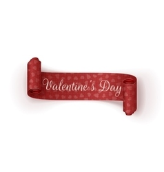 Valentines day scroll banner with hearts pattern vector