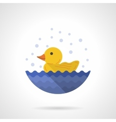 Yellow rubber duck flat color icon vector