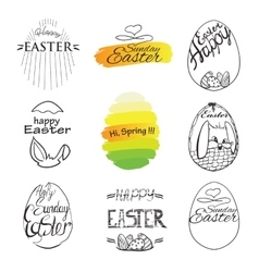Label elements easter phrases greeting card text vector