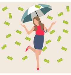 Woman umbrella money rain dollar cash rich lucky vector