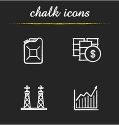 Oil industry chalk icons set vector