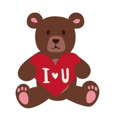 Gift Bear holding a red heart isolated on white vector image