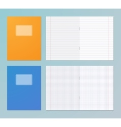 Opened and closed exercise books vector