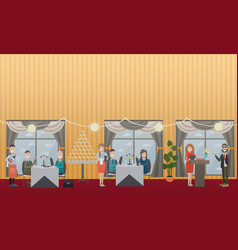 business people in restaurant flat vector image