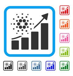 Cardano success chart framed icon vector