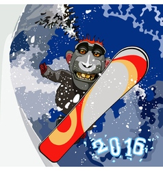 Cartoon smiling monkey gorilla snowboarding vector