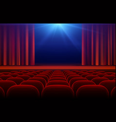 Cinema or theater hall with stage red curtain and vector