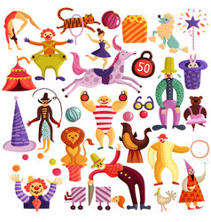 Circus decorative icons set vector