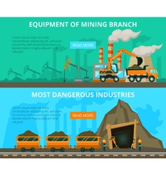 Coal mining 2 flat interactive banners vector image vector image