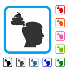 Crap thinking person framed icon vector