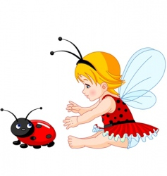 cute baby fairy and ladybug vector image vector image