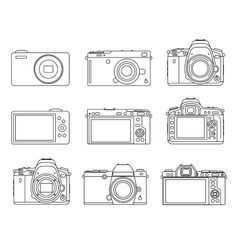 Different type camera icons vector image vector image