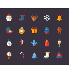 Flat Christmas and New Year icons set vector image vector image