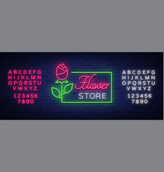 flower store logo neon sign flower shop vector image vector image