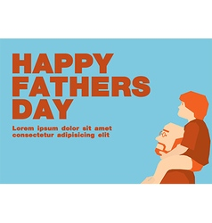 Happy fathers day cardBlue and orange tone vector image vector image
