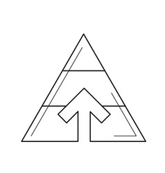 Pyramid chart line icon vector