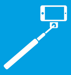 Selfie stick and smartphone icon white vector