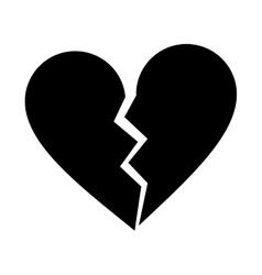 silhouette heart broken sad separation vector image