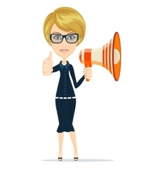 Smiling businesswoman with megaphone vector image