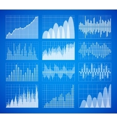 Statistic business data graphs charts set vector image vector image