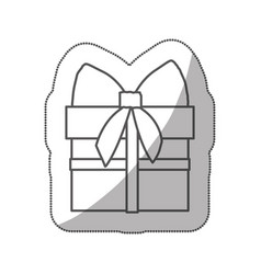 Sticker silhouette gift box with ribbon wrapping vector