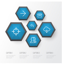 User outline icons set collection of target undo vector