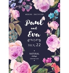Vintage floral roses wedding invitation vector image