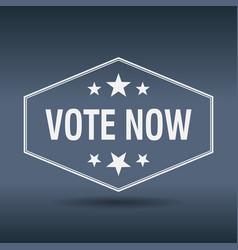 Vote now hexagonal white vintage retro style label vector