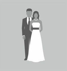 Wedding couple on gray background vector